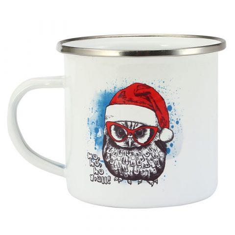 Enamel Coffee Cup 11 OZ 8X8cm 350ml Christmas Owl printing