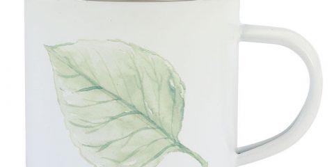 Enamel Coffee Cup 8X8cm 350ml leaf printing