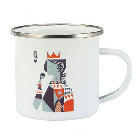 Enamel Coffee Cup 8X8cm 350ml queen printing